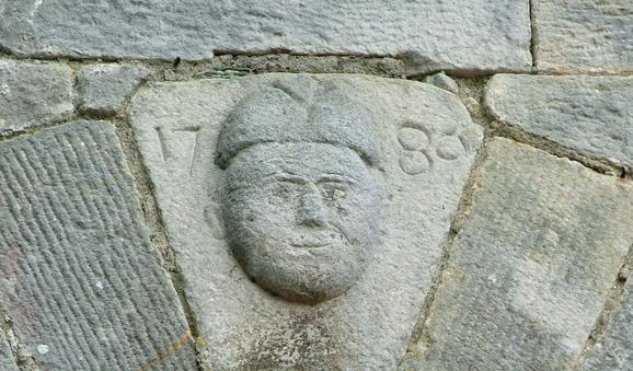 Carved Mask to Keystone, St Ernan's Church, Kingscourt, Architectural Heritage Survey of Towns of Cavan, 2006