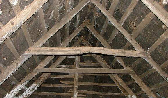 A-Frame Timbers Supporting Oaten Straw Roof, Recorded in Survey of Thatched Structures of Laois, 2007